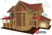Фото: трёхэтажный дом из бруса с угловой террасой и гаражом