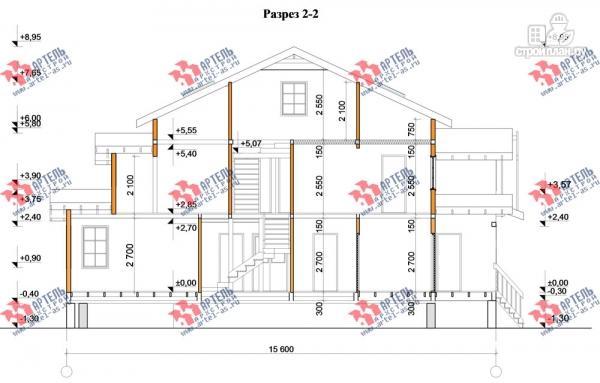 Фото 12: проект трёхэтажный дом из бруса для большой семьи