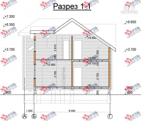 Фото 10: проект дом 8х8 из бруса