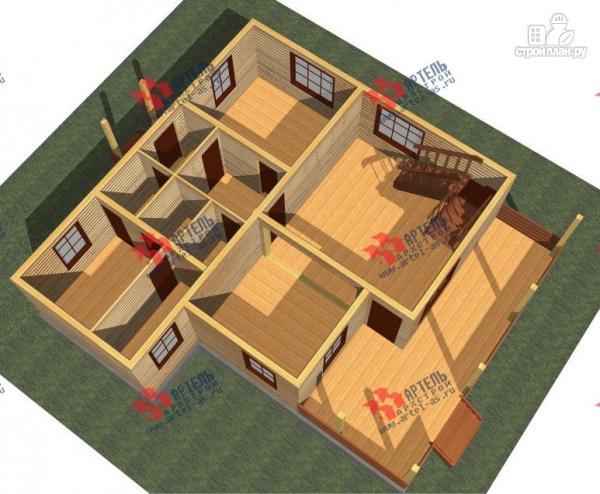 Фото 2: проект брусовой дом с террасой