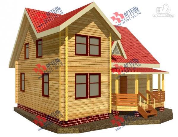 Фото: проект дом 8х10 из бруса с крыльцом-террасой