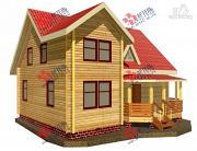 Фото: дом 8х10 из бруса с крыльцом-террасой