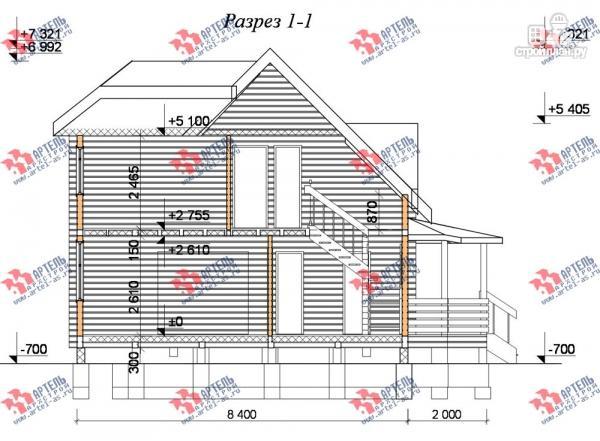 Фото 10: проект дом 8х10 из бруса с крыльцом-террасой