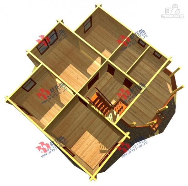 Фото 6: проект дом 8х10 из бруса с крыльцом-террасой