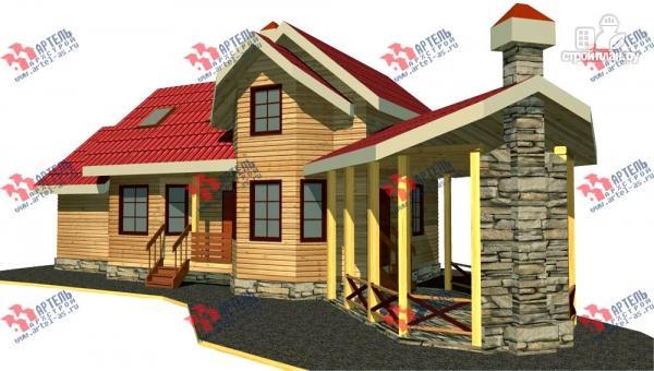 Фото: проект дом из бруса, с сауной и барбекю