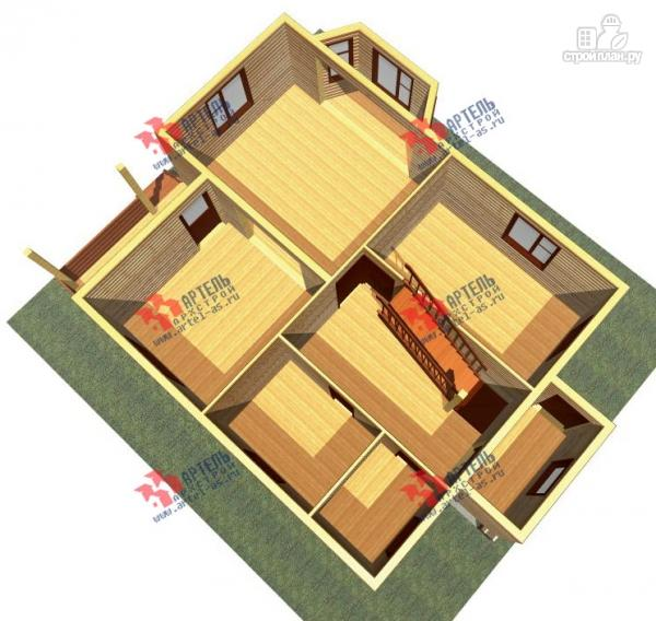 Фото 2: проект дом 8х10 из бруса, с балконом