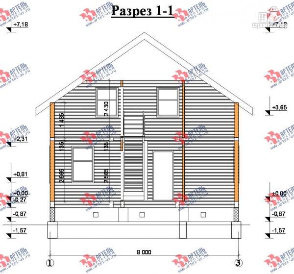 Фото 10: проект дом 8х10 из бруса, с балконом