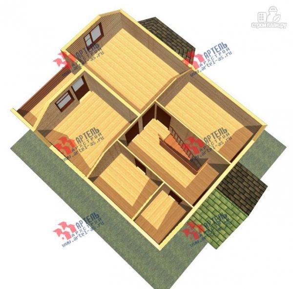 Фото 3: проект дом 8х10 из бруса, с балконом