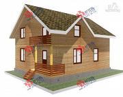 Проект дом 8х10 из бруса, с балконом