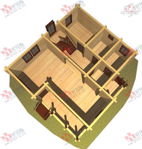 Фото 6: проект дом из бруса, с крыльцом и балконом