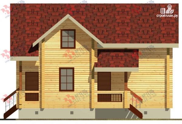 Фото 5: проект дом из бруса, с крыльцом и балконом