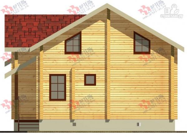 Фото 2: проект дом из бруса, с крыльцом и балконом