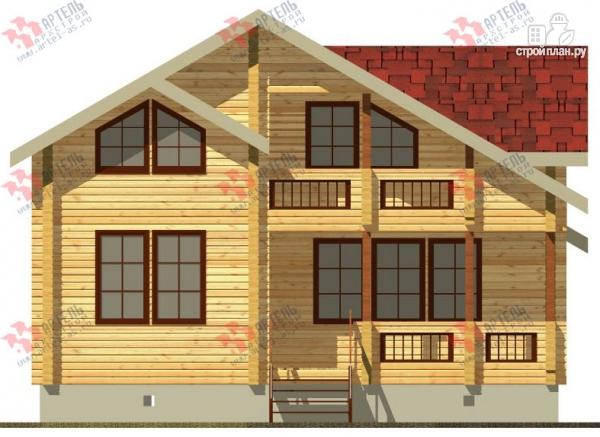 Фото 4: проект дом из бруса, с крыльцом и балконом