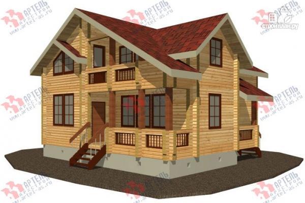 Фото: проект дом из бруса, с крыльцом и балконом