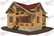 Проект дом из бруса, с крыльцом и балконом