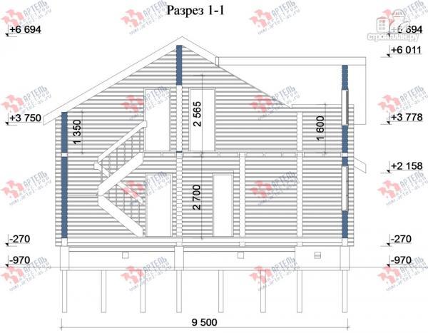 Фото 10: проект дом из бруса, с крыльцом и балконом