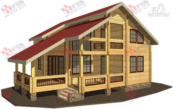 Фото: проект дом из бруса, с террасой
