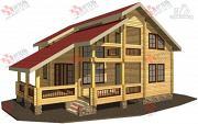 Фото: дом из бруса, с террасой