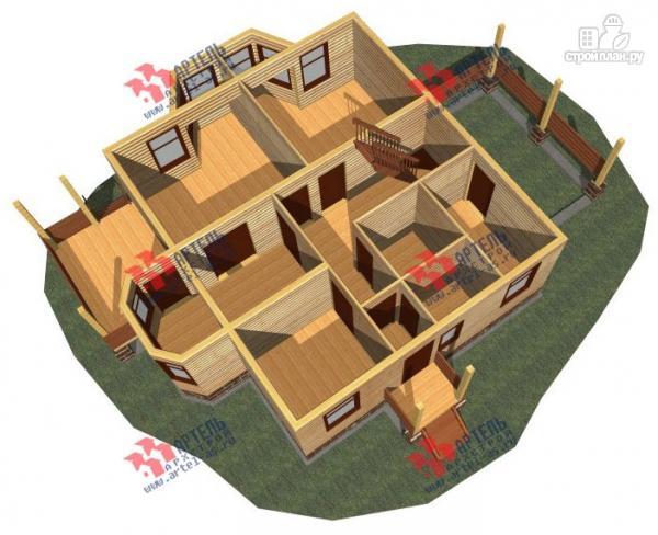 Фото 2: проект дом 8х9 из бруса, с навесом для машины