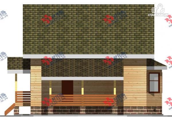Фото 5: проект дом 8х9 из бруса, с навесом для машины
