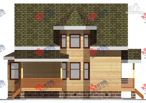 Фото 6: проект дом 8х9 из бруса, с навесом для машины
