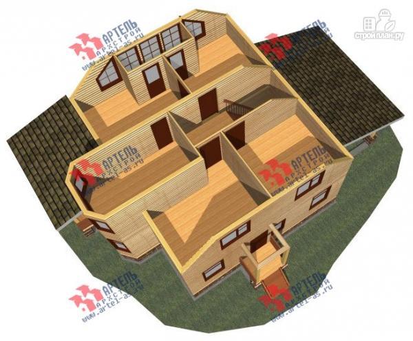 Фото 3: проект дом 8х9 из бруса, с навесом для машины