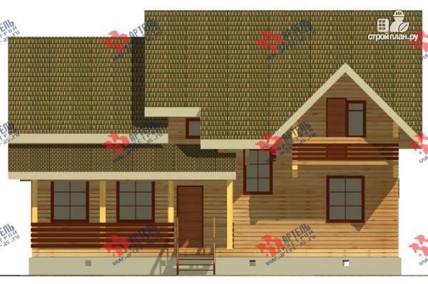 Фото 4: проект дом из бруса, с балконом и террасой