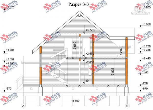 Фото 10: проект дом из бруса, с балконом и террасой