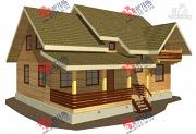 Фото: дом из бруса, с балконом и террасой