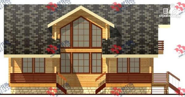 Фото 3: проект дом из бруса, с балконом и угловой террасой