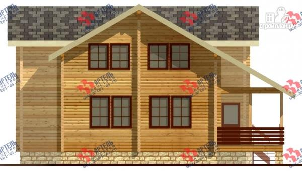 Фото 2: проект дом из бруса, с балконом и угловой террасой