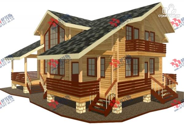Фото: проект дом из бруса, с балконом и угловой террасой