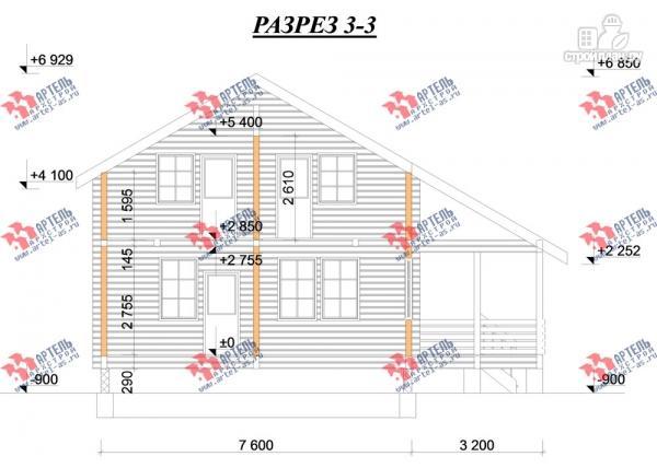 Фото 10: проект дом из бруса, с балконом и угловой террасой