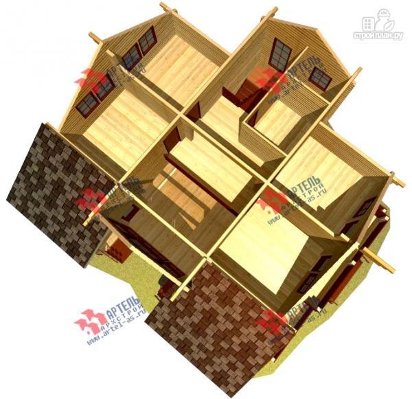 Фото 7: проект дом из бруса, с балконом и угловой террасой