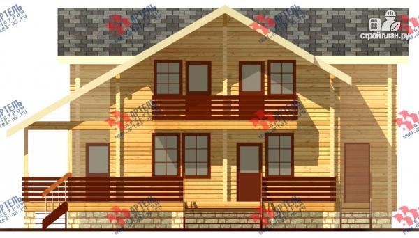 Фото 5: проект дом из бруса, с балконом и угловой террасой