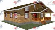 Фото: дом 11х12 из бруса, с террасой