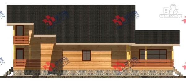 Фото 4: проект дом 16х18 из бруса, с тремя террасами и двумя балконами