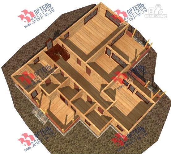 Фото 2: проект дом 16х18 из бруса, с тремя террасами и двумя балконами