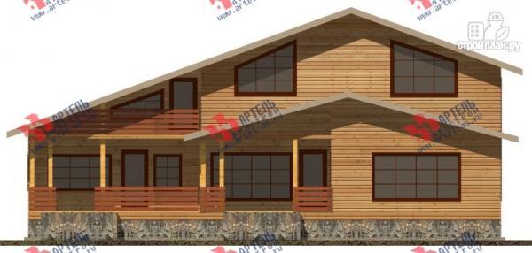 Фото 5: проект дом 16х18 из бруса, с тремя террасами и двумя балконами