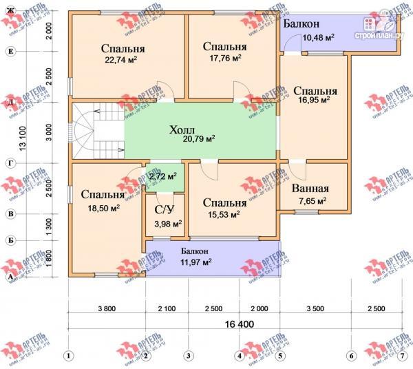Фото 9: проект дом 16х18 из бруса, с тремя террасами и двумя балконами