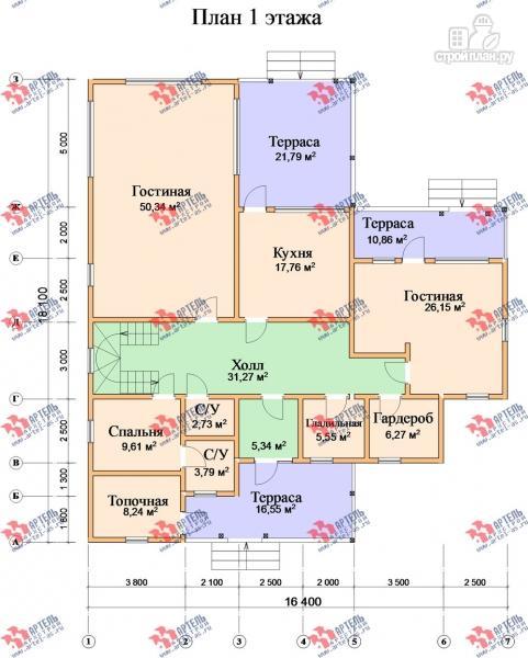 Фото 8: проект дом 16х18 из бруса, с тремя террасами и двумя балконами