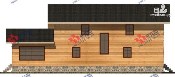 Фото 6: проект дом 16х18 из бруса, с тремя террасами и двумя балконами