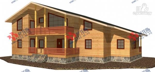 Фото: проект дом 16х18 из бруса, с тремя террасами и двумя балконами