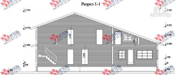 Фото 10: проект дом 16х18 из бруса, с тремя террасами и двумя балконами
