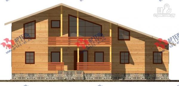 Фото 7: проект дом 16х18 из бруса, с тремя террасами и двумя балконами