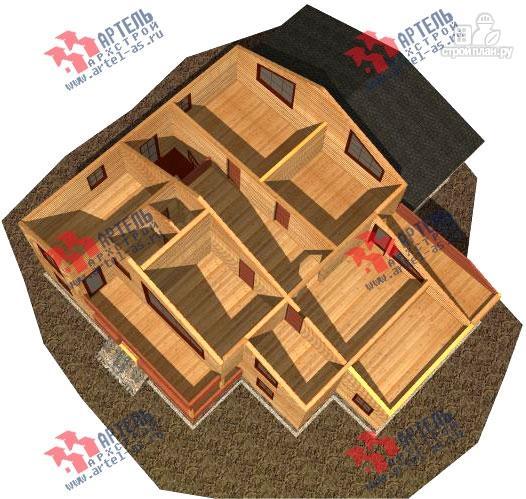 Фото 3: проект дом 16х18 из бруса, с тремя террасами и двумя балконами