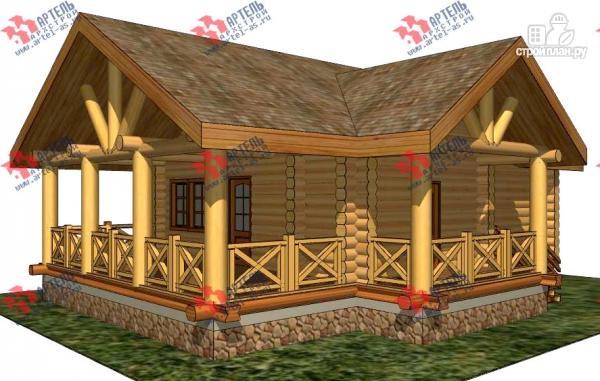 Фото: проект одноэтажный дом из оцилиндрованного бревна 240 мм