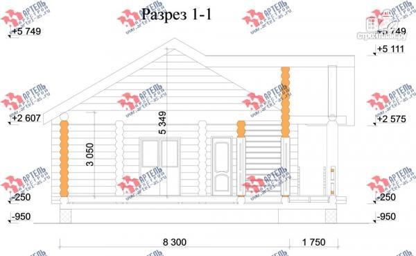 Фото 8: проект одноэтажный дом из оцилиндрованного бревна 240 мм