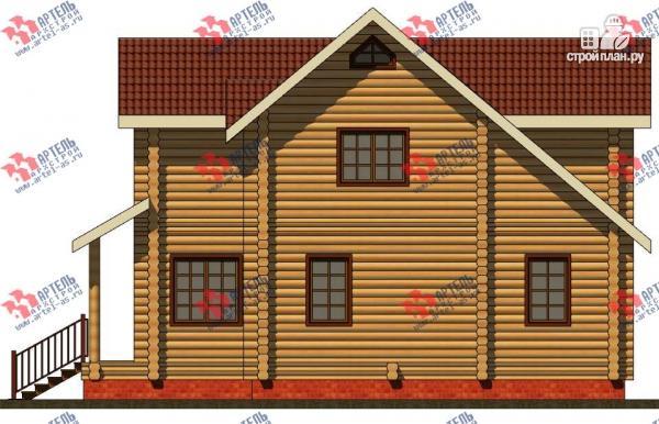 Фото 4: проект дом из бревна, с террасой