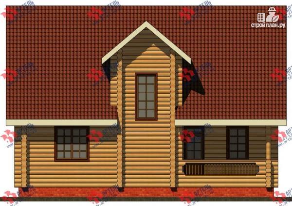 Фото 5: проект дом из бревна, с террасой